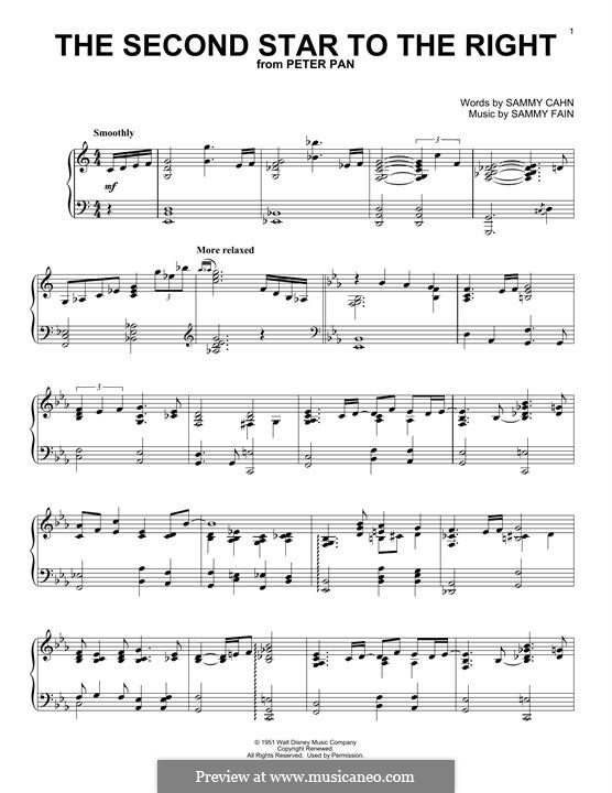 The Second Star to the Right (from Peter Pan): Für Klavier by Sammy Fain