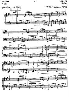 Sonate für Klavier Nr.13 in A-Dur, D.664 Op.120: Für einen Interpreten by Franz Schubert