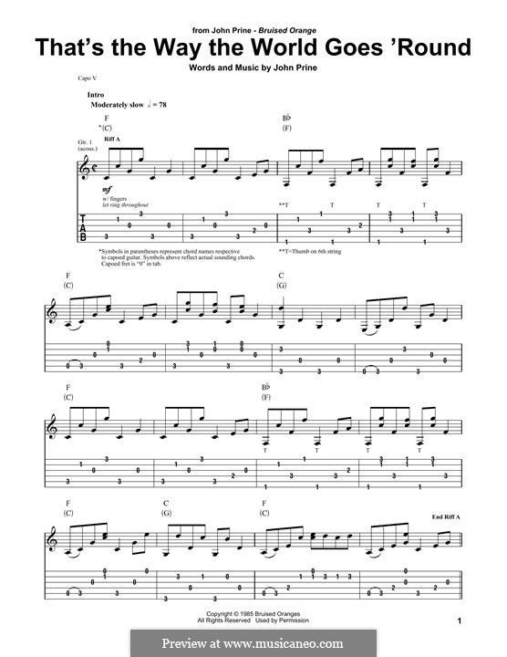That's the Way the World Goes 'Round (Miranda Lambert): Für Gitarre by John Prine