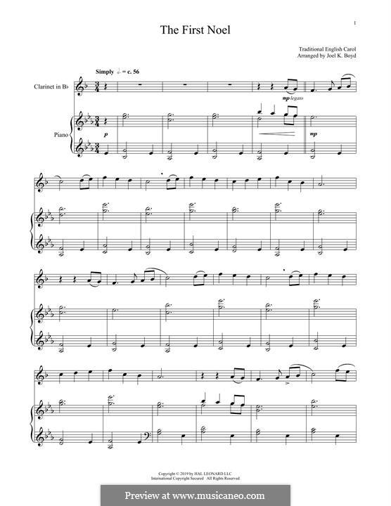 The First Nowell (The First Noël), Printable scores: Für Klarinette und Klavier by folklore