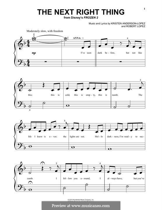 The Next Right Thing (from Disney's Frozen 2): Für Klavier by Robert Lopez, Kristen Anderson-Lopez