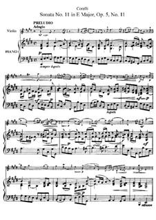 Sonate Nr.11: Bearbeitung für Violine und Klavier by Arcangelo Corelli