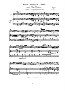 Konzert für Cembalo und Streicher Nr.1 in d-Moll, BWV 1052: Arrangement for violin and cembalo (or piano) by Johann Sebastian Bach