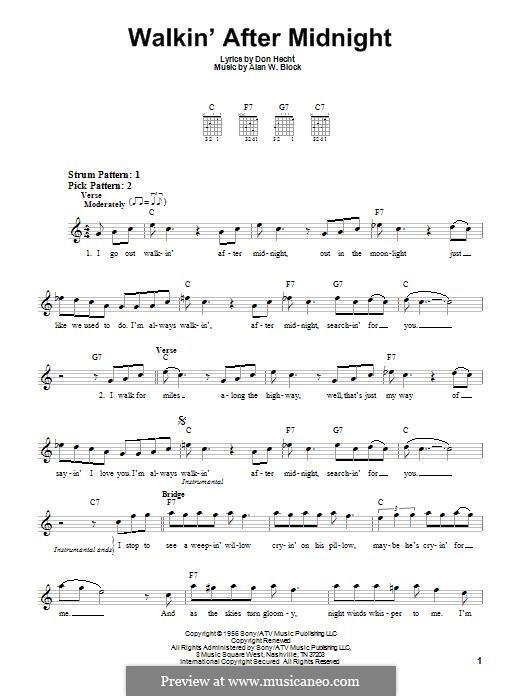Walkin' After Midnight (Patsy Cline): Für Gitarre by Alan W. Block