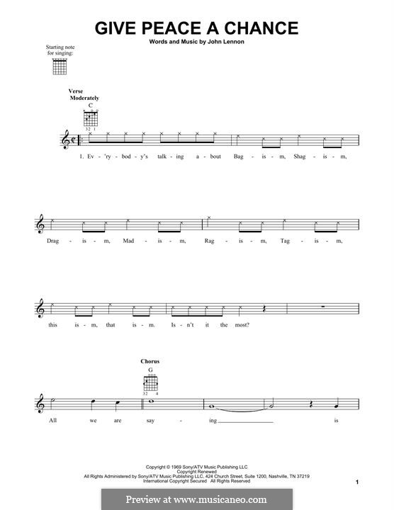 Give Peace a Chance: Für Gitarre by John Lennon, Paul McCartney