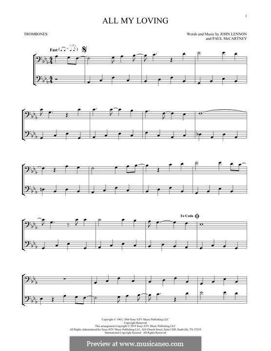 All My Loving (The Beatles): For two trombones by John Lennon, Paul McCartney