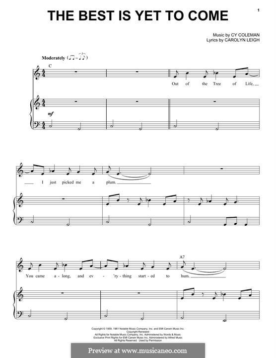 The Best is Yet to Come: Für Stimme und Klavier by Cy Coleman