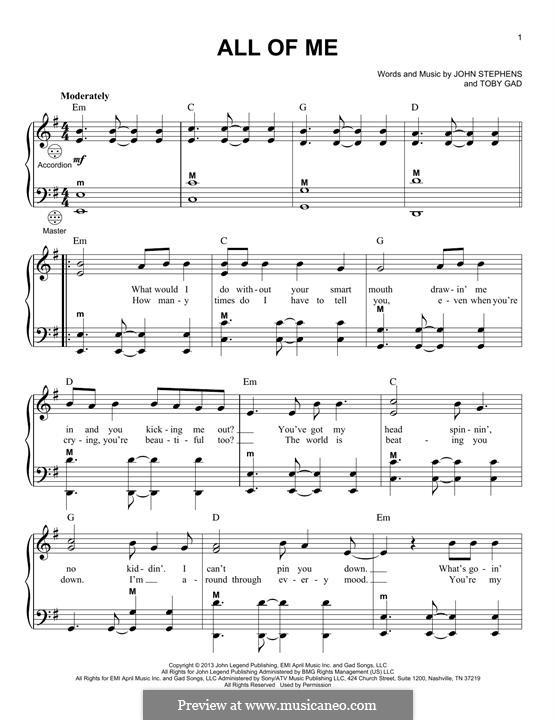 All of Me: Für Akkordeon by John Stephens, Tobias Gad