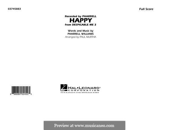 Happy (from Despicable Me 2): Full score (arr. Paul Murtha) by Pharrell Williams