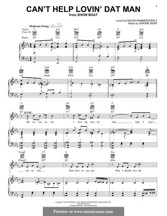 Can't Help Lovin' Dat Man (from Show Boat): Für Stimme und Klavier (oder Gitarre) by Jerome Kern