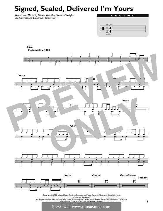 Signed, Sealed, Delivered (Blue feat. Stevie Wonder): Drum set by Lee Garrett, Lula Mae Hardaway, Stevie Wonder, Syreeta Wright