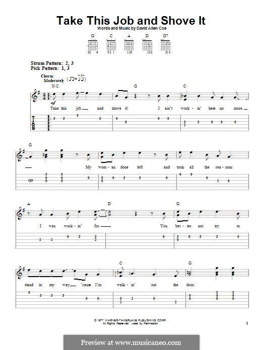 Take This Job and Shove It: Für Gitarre by David Allen Coe