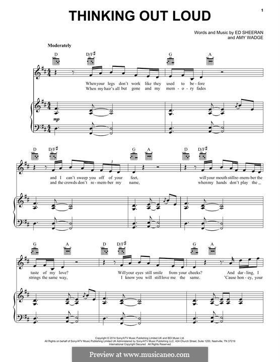 Thinking Out Loud: Für Stimme und Klavier (oder Gitarre) by Ed Sheeran, Amy Wadge
