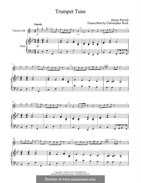 Trumpet tune and Air: Für Klarinette und Klavier by Henry Purcell