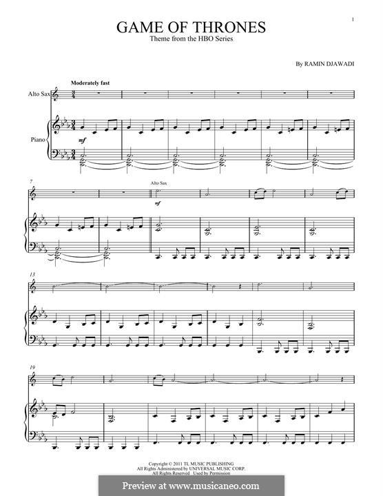 Game of Thrones: Für Altsaxsophon und Klavier by Ramin Djawadi