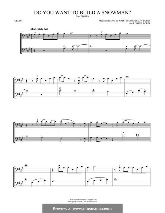 Do You Want to Build a Snowman? (Kristen Bell): Für zwei Cellos by Robert Lopez, Kristen Anderson-Lopez