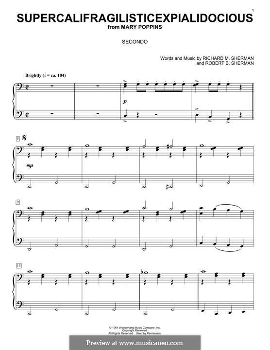 Supercalifragilisticexpialidocious (from Mary Poppins), for Piano: Für einen Interpreten by Richard M. Sherman, Robert B. Sherman