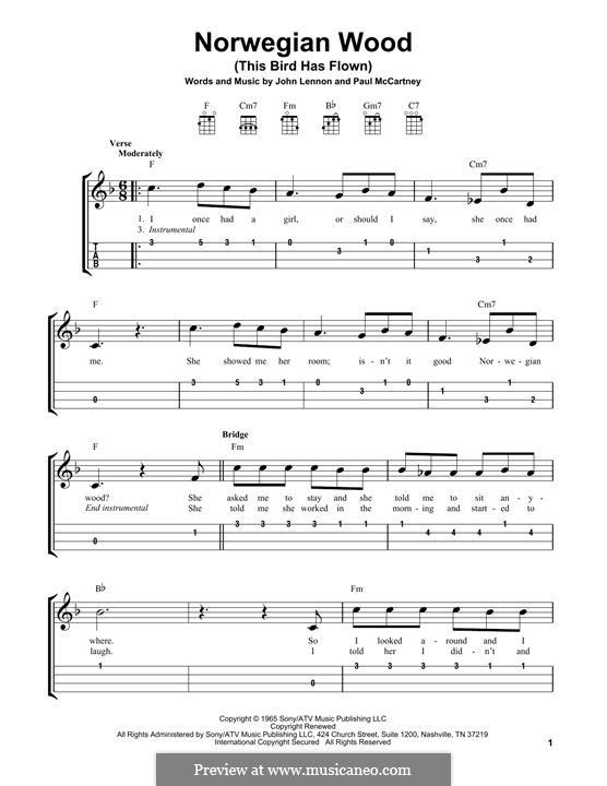 Norwegian Wood (This Bird Has Flown): Für Ukulele by John Lennon, Paul McCartney