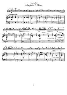 Adagio in a-Moll für Flöte und Klavier: Partitur by Benedetto Marcello