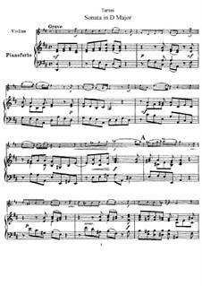 Sonate für Violine und Klavier in D-Dur: Partitur by Giuseppe Tartini