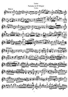 Sonate für Violine und Klavier in D-Dur: Solostimme by Giuseppe Tartini