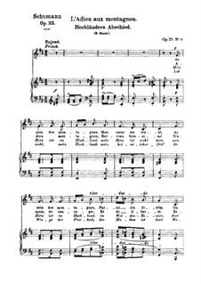 Nr.13 Hochländers Abschied: Klavierauszug mit Singstimmen (Deutsch, Französish) by Robert Schumann