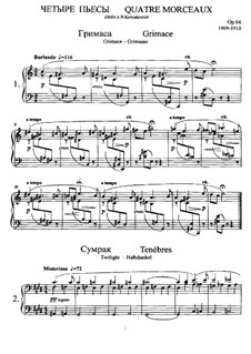 Vier Klavierstücke, Op.64: Für einen Interpreten by Anatoli Ljadow