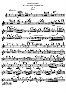 Il Carnevale di Venezia für Flöte und Orchester, Op.78: Version for flute and piano – flute part by Giulio Briccialdi