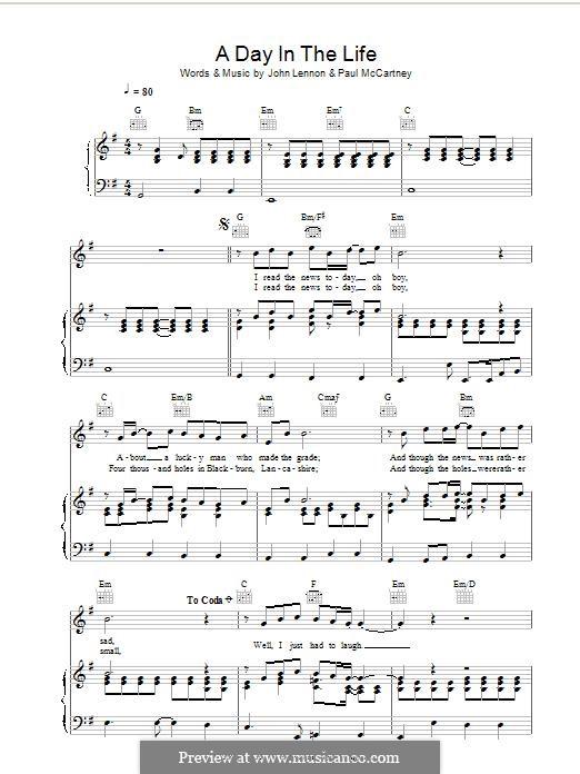A Day in the Life (The Beatles): Für Stimme und Klavier (oder Gitarre) by John Lennon, Paul McCartney