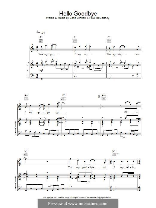 Hello, Goodbye (The Beatles): Für Stimme und Klavier (oder Gitarre) by John Lennon, Paul McCartney