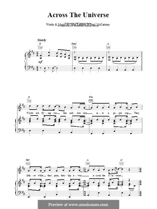 Across the Universe (The Beatles): Für Stimme und Klavier (oder Gitarre) by John Lennon, Paul McCartney