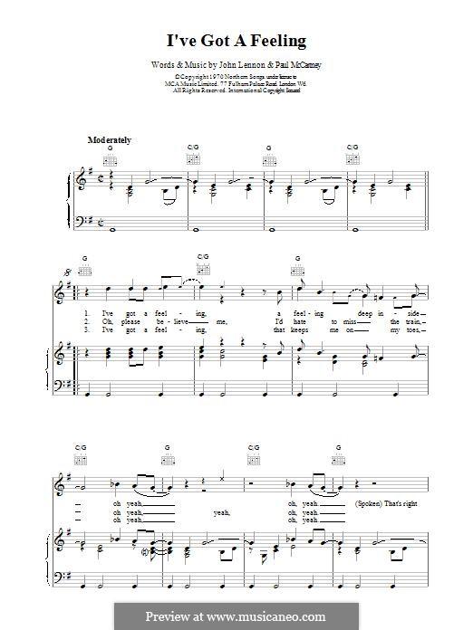 I've Got a Feeling (The Beatles): Für Stimme und Klavier (oder Gitarre) by John Lennon, Paul McCartney