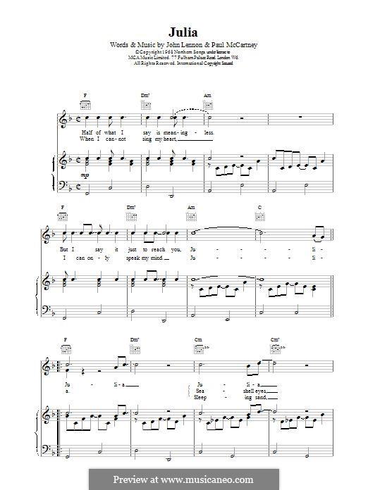 Julia (The Beatles): Für Stimme und Klavier (oder Gitarre) by John Lennon, Paul McCartney