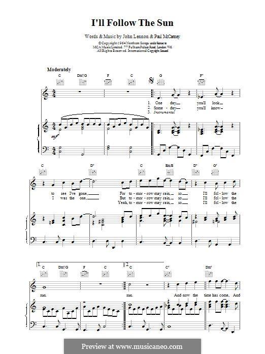 I'll Follow the Sun (The Beatles): Für Stimme und Klavier (oder Gitarre) by John Lennon, Paul McCartney
