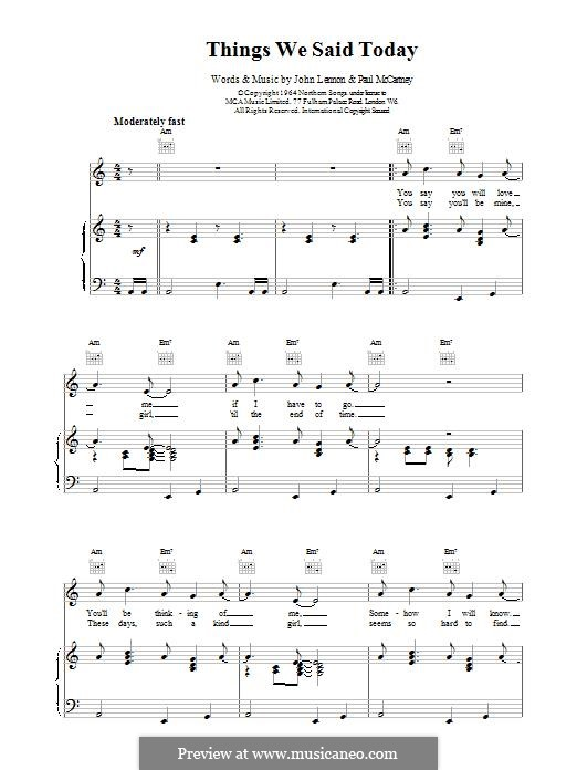 Things We Said Today (The Beatles): Für Stimme und Klavier (oder Gitarre) by John Lennon, Paul McCartney