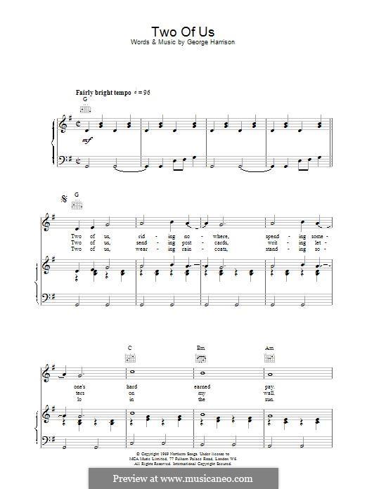 Two of Us (The Beatles): Für Stimme und Klavier (oder Gitarre) by John Lennon, Paul McCartney