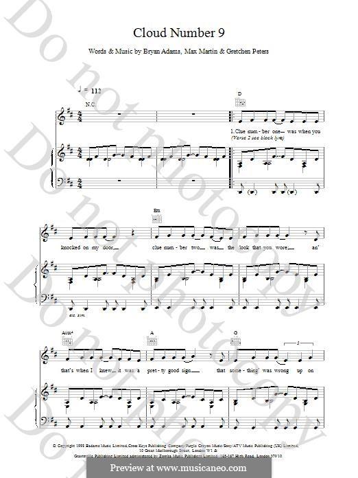 Cloud Number Nine: Für Stimme und Klavier (oder Gitarre) by Bryan Adams, Gretchen Peters, Max Martin