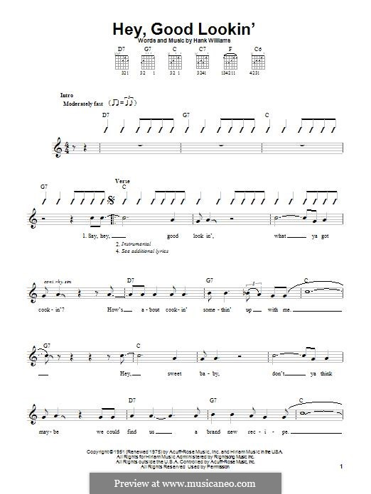 Hey, Good Lookin': Für Gitarre mit Tabulatur by Hank Williams