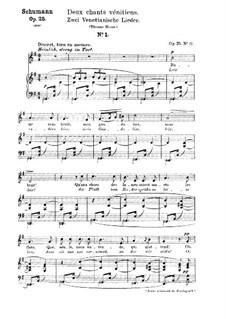 Nr.17  Venetianisch Lied Nr.1: Klavierauszug mit Singstimmen (Deutsch, Französisch) by Robert Schumann