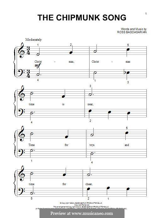 The Chipmunk Song (Alvin and the Chipmunks): Für Klavier, leicht by Ross Bagdasarian