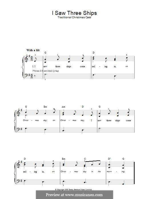 I Saw Three Ships: Für Klavier by folklore