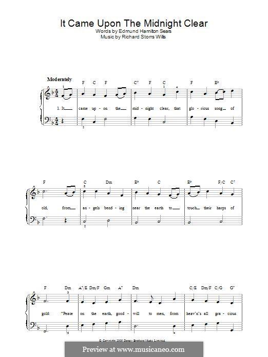 It Came upon the Midnight Clear, for Piano: Für einen Interpreten by Richard Storrs Willis