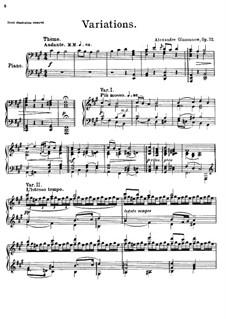 Thema und Variationen für Klavier, Op.72: Für einen Interpreten by Alexander Glazunov