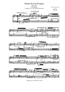 Partita für Tasteninstrument Nr.4 in D-Dur, BWV 828: Version für Klavier by Johann Sebastian Bach