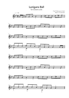 Lanigan's Ball: For guitar solo (g minor) by folklore