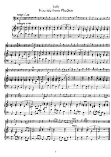 Phaëton, LWV61: Bourrée, für Flöte und Klavier by Jean-Baptiste Lully