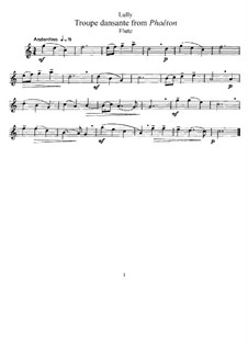 Phaëton, LWV61: Troupe dansante, for Flute and Piano – Flute Part by Jean-Baptiste Lully