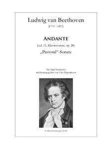 Sonate für Klavier Nr.15 'Pastorale', Op.28: Andante, bearbeitung für Orgel by Ludwig van Beethoven