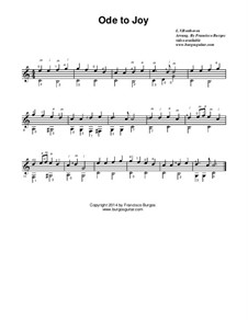 Ode an die Freude: For guitar (music notation only) by Ludwig van Beethoven