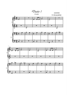 First duet. Piano 4 hands: First duet. Piano 4 hands by Unknown (works before 1850)